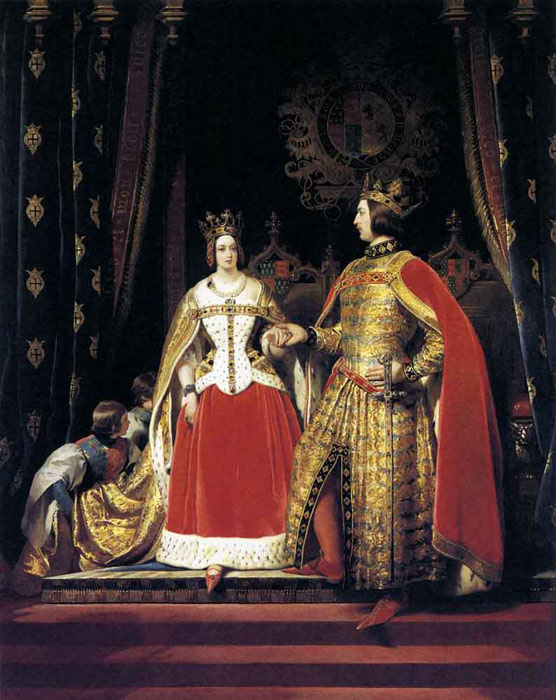 Queen Victoria and Prince Albert at the Bal Costum? of 12 May 1842, 1842  Painting Reproductions