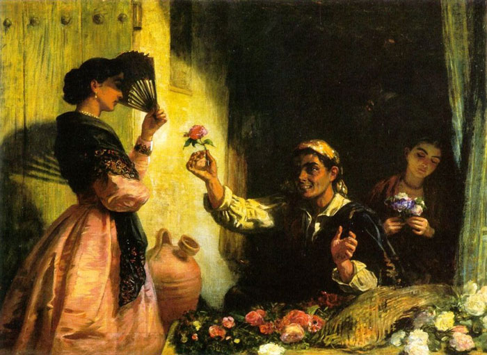 A Spanish Flower Seller  Painting Reproductions