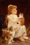 Munier, Emile Playing with the Kitten, 1893 Art Reproductions