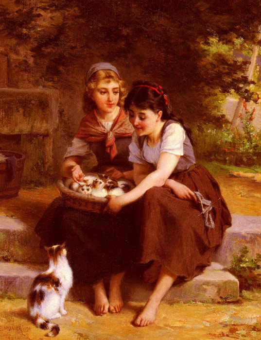 Deux Filles Avec Un Panier De Chatons [Two Girls With A Basket Of Kittens]  Painting Reproductions