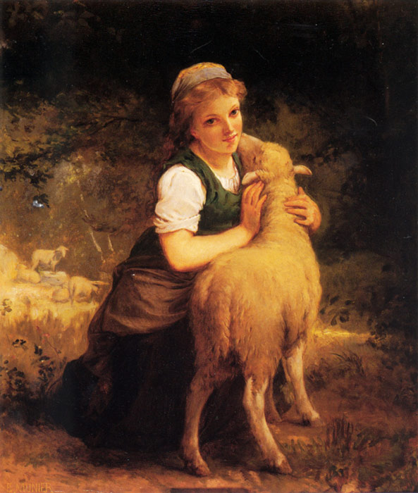 Young Girl with Lamb  Painting Reproductions