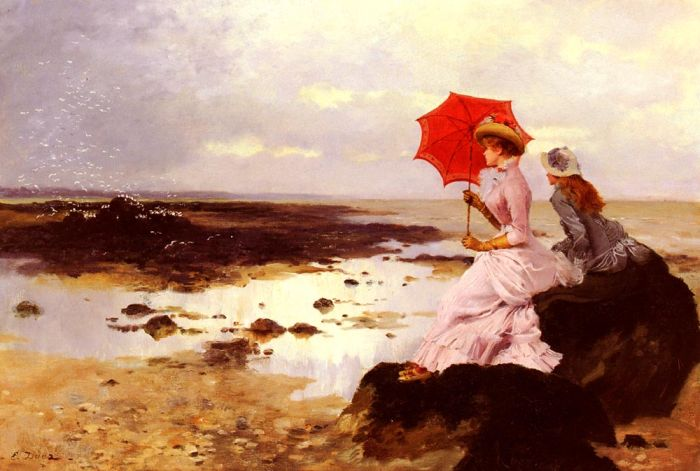 On a Rock by the Seashore  Painting Reproductions