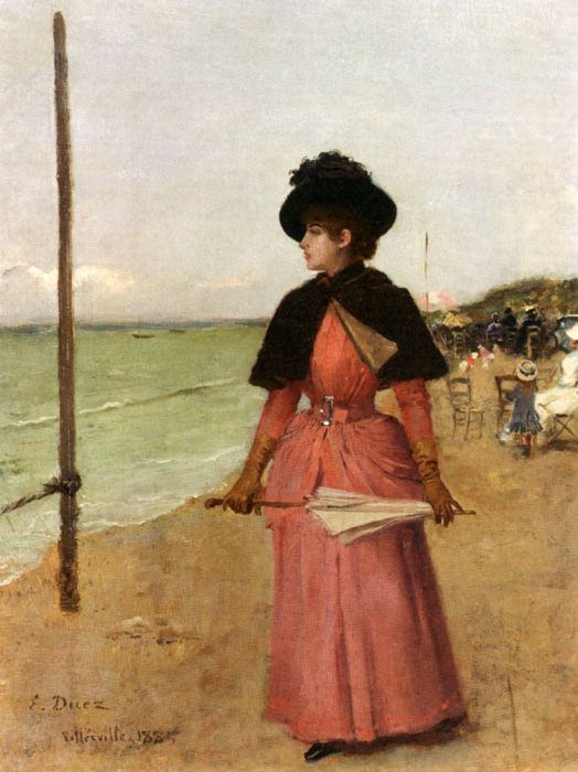 An Elegant Lady On The Beach, 1885  Painting Reproductions