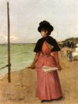 0 An Elegant Lady On The Beach, 1885 Art Reproductions