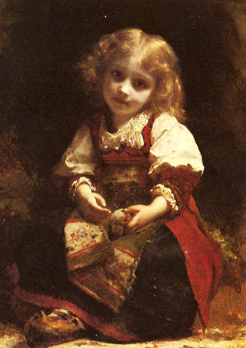 A Little Girl Holding A Bird  Painting Reproductions