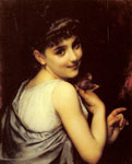 Piot, Etienne Adolphe A Young Beauty Holding A Red Rose Art Reproductions
