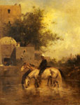 Fromentin, Eugene Horses Watering in a River, 1872 Art Reproductions