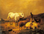 Verboeckhoven, Eugene Joseph A Horse, Sheep and a Goat in a Landscape Art Reproductions