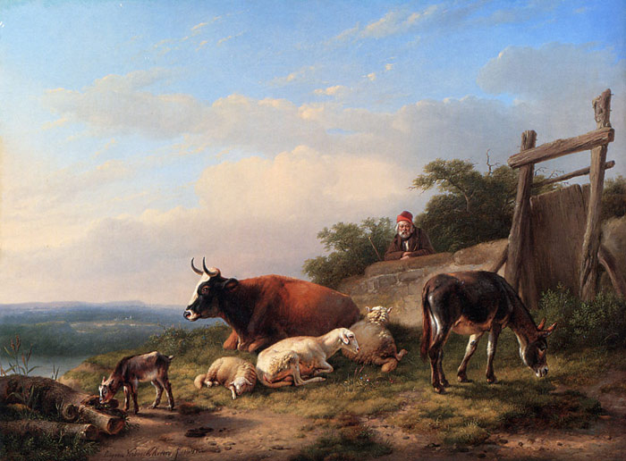 A Farmer Tending His Animals  Painting Reproductions