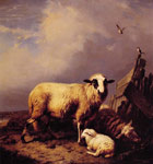 Verboeckhoven, Eugene Joseph Guarding the Lamb, 1837 Art Reproductions