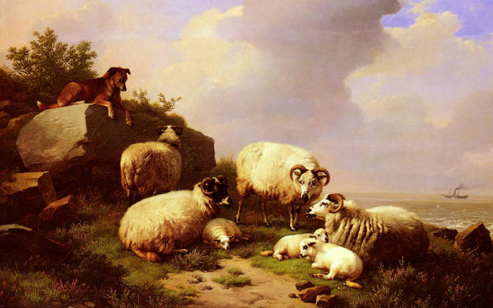 Guarding The Flock By The Coast, 1867  Painting Reproductions