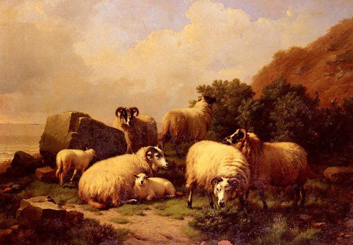 Sheep Grazing By The Coast  Painting Reproductions