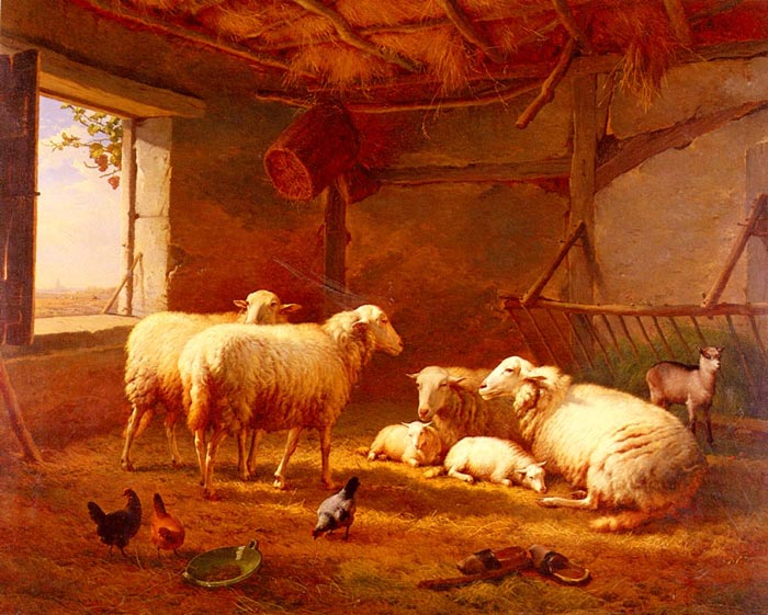 Sheep With Chickens And A Goat In A Barn, 1877  Painting Reproductions