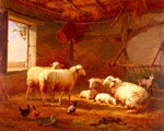 Verboeckhoven, Eugene Joseph Sheep With Chickens And A Goat In A Barn, 1877 Art Reproductions