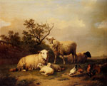 Verboeckhoven, Eugene Joseph Sheep With Resting Lambs And Poultry In A Landscape, 1864 Art Reproductions