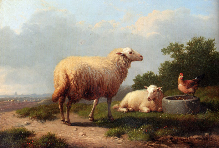 Sheep In A Meadow, 1865  Painting Reproductions