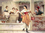 Blaas, Eugene de Flirtation at the Well, 1902 Art Reproductions