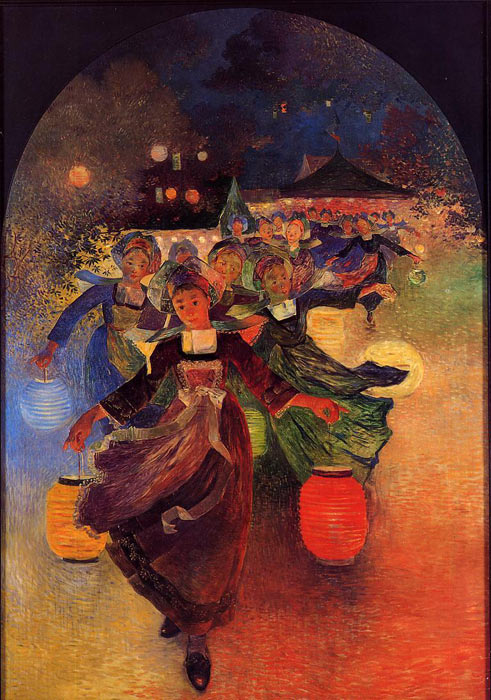 Breton Girls with Chinese Lanterns, 1896  Painting Reproductions