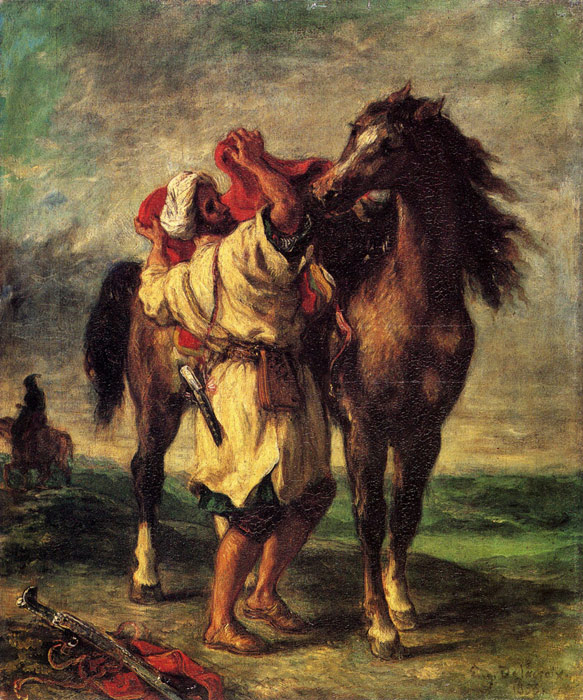 A Moroccan Saddling A Horse, 1855  Painting Reproductions
