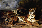 Delacroix, Ferdinand Victor Eugene A Young Tiger Playing with its Mother, 1830 Art Reproductions