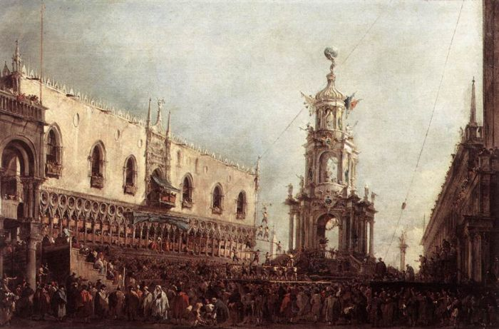 Carnival Thursday on the Piazzetta, 1766  Painting Reproductions