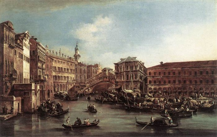 The Rialto Bridge with the Palazzo dei Camerlenghi, 1763  Painting Reproductions
