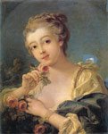 Boucher, Francois Young Woman with a Bouquet of Roses Art Reproductions