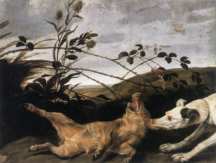 Greyhound Catching a Young Wild Boar  Painting Reproductions