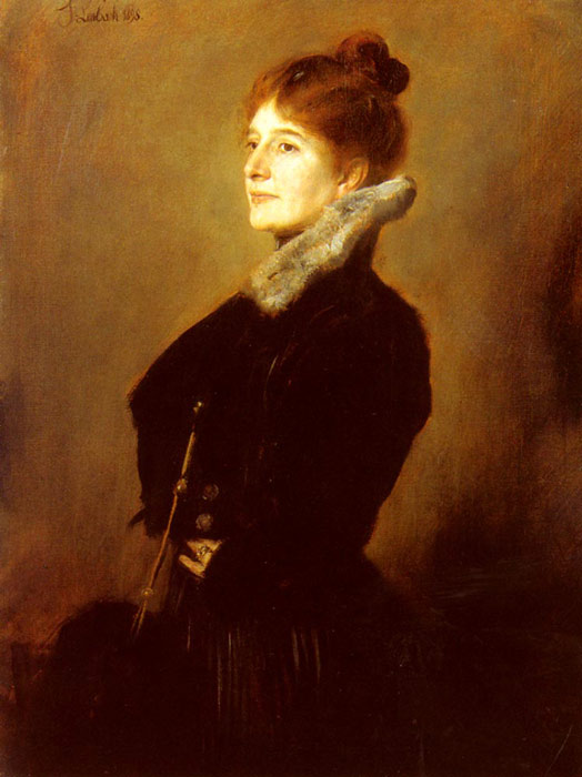 Portrait Of A Lady Wearing A Black Coat With Fur Collar, 1898  Painting Reproductions