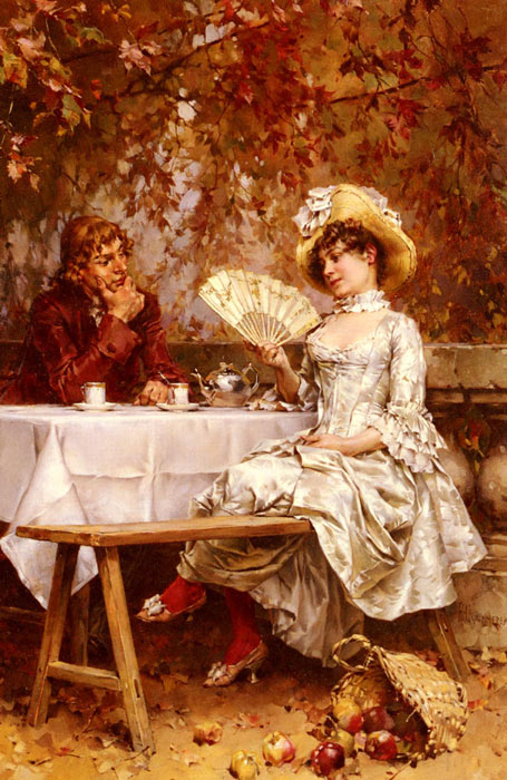 Tea In The Garden, Autumn  Painting Reproductions