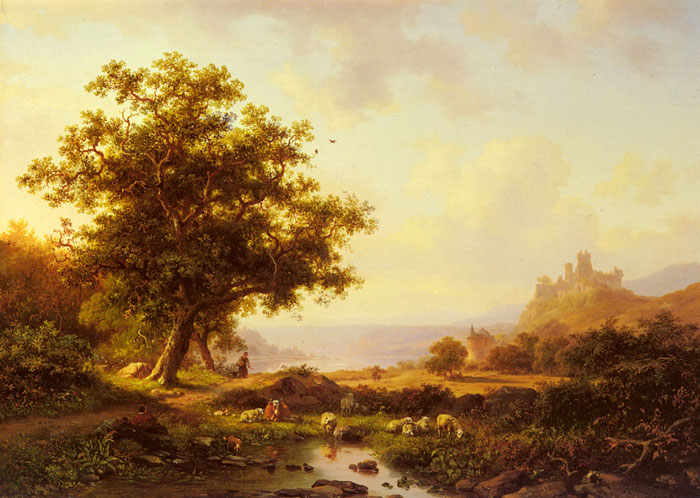 An Extensive River Landscape With A Castle On A Hill Beyond, 1865  Painting Reproductions