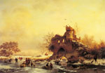 Kruseman, Frederik Marianus Winter Landscape with Skaters on a Frozen River beside Castle Ruins Art Reproductions