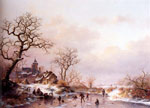 Kruseman, Frederik Marianus Winter: Townsfolk skating on a frozen waterway near a Fortified mansion at Dusk , 1867 Art Reproductions