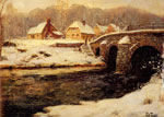 Thaulow, Frits A Stone Bridge Over A Stream In Winter Art Reproductions