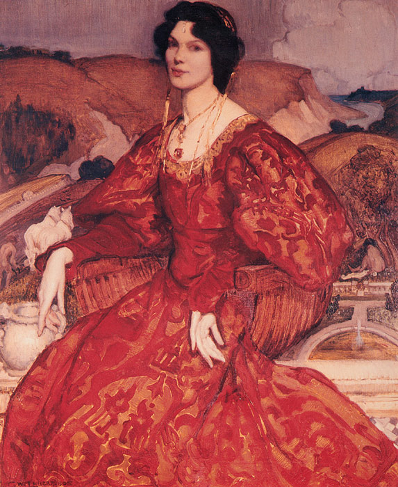 Sybil Walker in Red and Gold Dress, 1905  Painting Reproductions