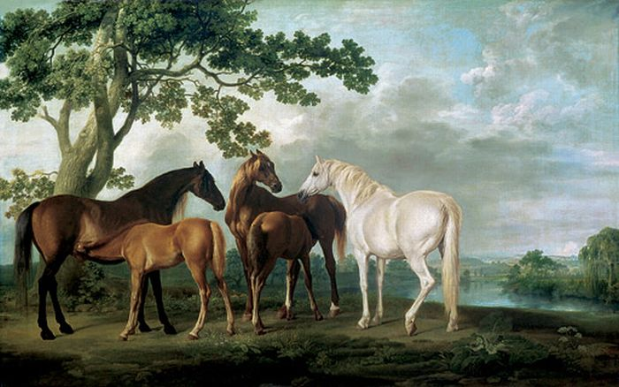 Mare and Foals in a River Landscape, 1763 Stubbs  George Painting Reproductions