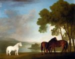 Stubbs  George Two Bay Mares And A Grey Pony In A Landscape, 1793 Art Reproductions