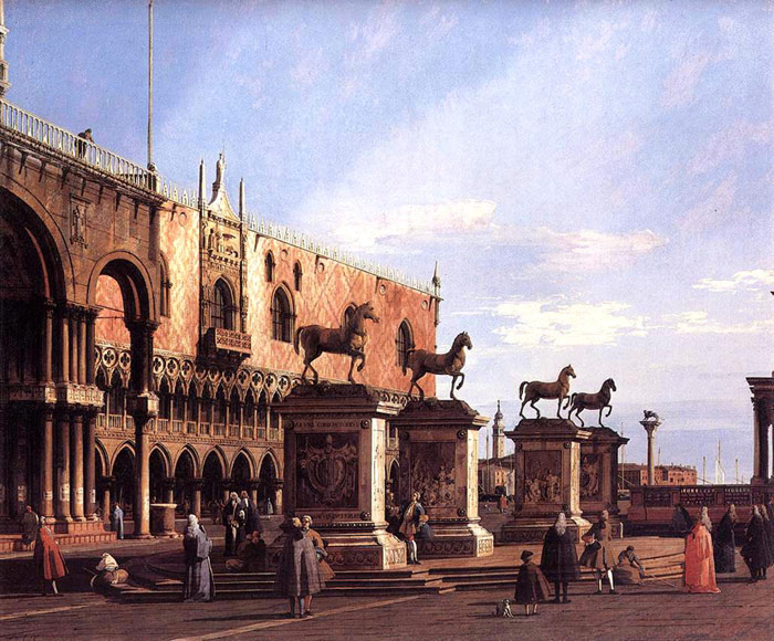 Capriccio: the Horses of San Marco in the Piazzetta, 1743  Painting Reproductions