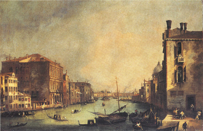 Grand Canal: looking East, from the Campo San Vio, 1725  Painting Reproductions
