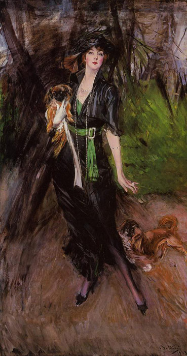 Portrait of a Lady, Lina Bilitis, with Two Pekinese, 1913  Painting Reproductions