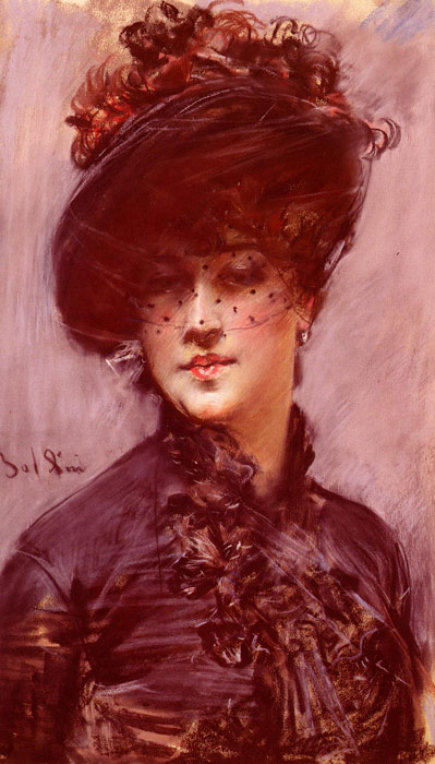 La Femme Au Chapeau Noir [Lady with a Black Hat]  Painting Reproductions