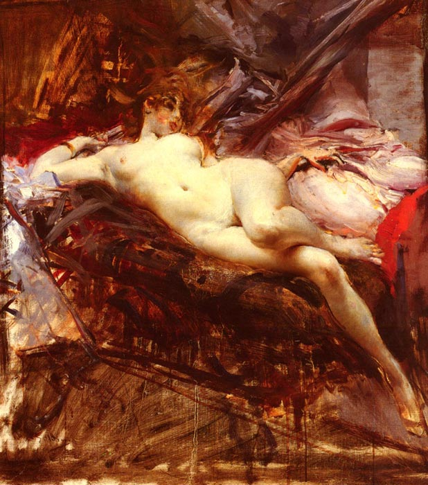 Reclining Nude Boldini, Giovanni Painting Reproductions