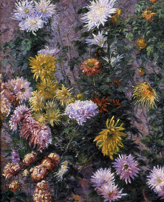 White and Yellow Chrysanthemums, Garden at Petit Gennevilliers, 1893  Painting Reproductions