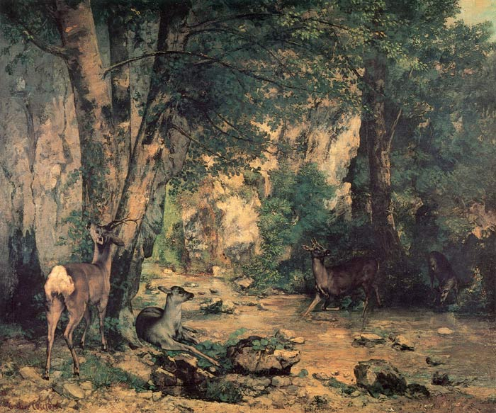 Shelter of the Roe Deer at the Stream of Plaisir-Fontaine, Doubs, 1866  Painting Reproductions