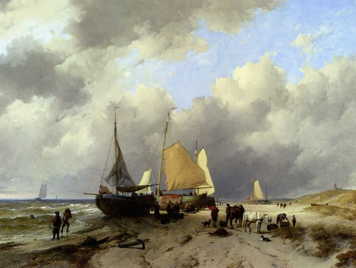 Unloading The Catch, 1846  Painting Reproductions