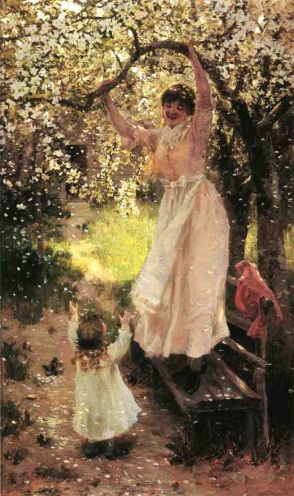 Falling Apple Blossoms  Painting Reproductions