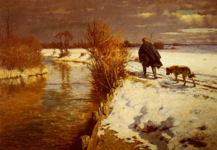 A Hunter In A Winter Landscape Hartwick, Hermann Painting Reproductions