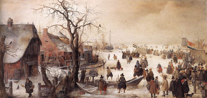 Winter Scene on a Canal  Painting Reproductions