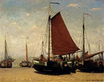 Mesdag, Hendrik Willem The Bomschuit Prinses Sophie On The Beach, Scheveningen, 1870 Art Reproductions
