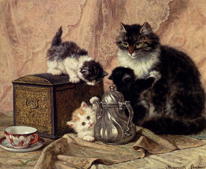 Teatime For Kittens  Painting Reproductions